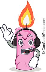 With headphone candle character cartoon style vector...