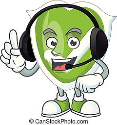 With headphone checkmark shield character on white background.