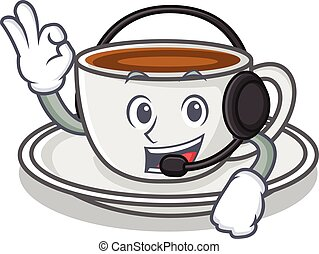 With headphone coffee character cartoon style