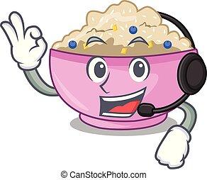With headphone cooked whole porridge oats in cartoon pan