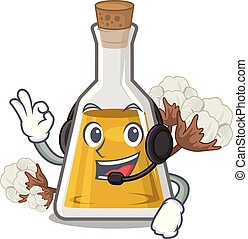 With headphone cottonseed oil at the cartoon table vector ...