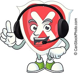 With headphone cross shield character on white background.