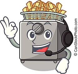 With headphone deep fryer machine isolated on mascot vector...