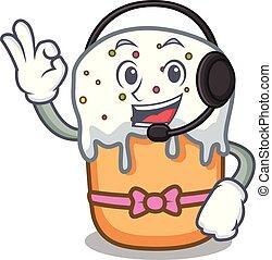 With headphone easter cake mascot cartoon