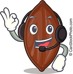 With headphone fresh pecan nuts isolated on mascot vector...