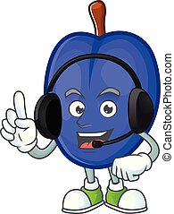 With headphone fruits prune character on white background