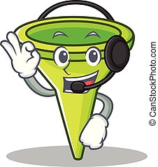 With headphone funnel character cartoon style