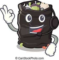 With headphone garbage bag behind the character door vector illustration