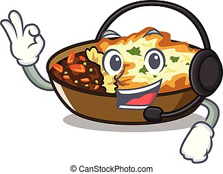 With headphone gratin is baked in cartoon oven