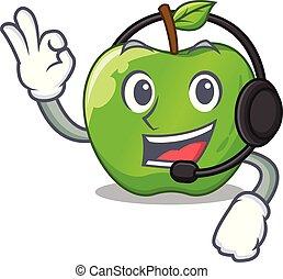 With headphone green smith apple isolated on cartoon vector...