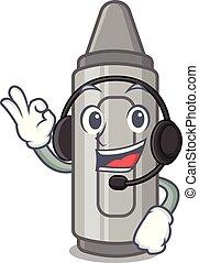 With headphone grey crayon in a bag cartoon