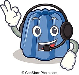 With headphone jelly character cartoon style