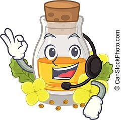 With headphone mustard oil in the cartoon shape vector ...