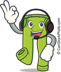 With headphone pants character cartoon style