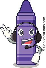 With headphone purple crayon in a mascot bag