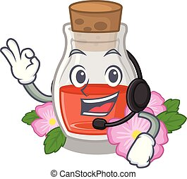 With headphone rosehip seed oil on a mascot