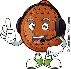 With headphone salak fruit character on white background