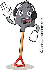 With headphone shovel character cartoon style