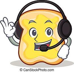 With headphone slice bread cartoon character vector art...