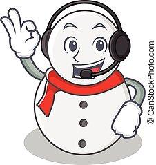With headphone snowman character cartoon style