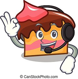 With headphone sponge cake mascot cartoon