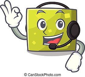 With headphone square mascot cartoon style