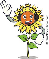 With headphone sunflower mascot cartoon style vector...