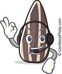 With headphone sunflower seed mascot cartoon vector...