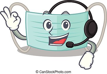 With headphone surgical mask in a cartoon wallet
