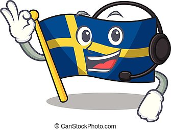 With headphone swede flags flutter on character pole vector ...