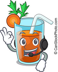 With headphone sweet carrot juice isolated on mascot