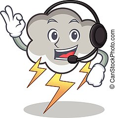 With headphone thunder cloud character cartoon