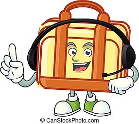 With headphone work suitcase character on white background