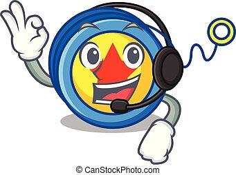 With headphone yoyo mascot cartoon style vector illustration