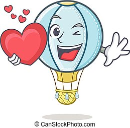 With heart air balloon character cartoon