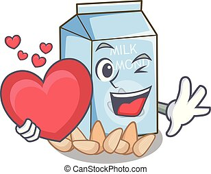 With heart almond milk in the cartoon bottle