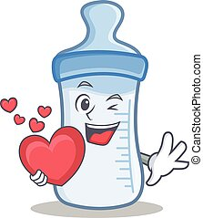 With heart baby bottle character cartoon