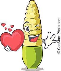 With heart baby corn cartoon in the fridge