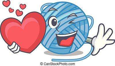 With heart ball yarn wool in needlework character