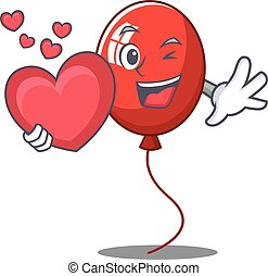 With heart balloon character cartoon style