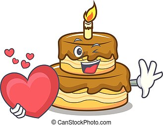 With heart birthday cake mascot cartoon