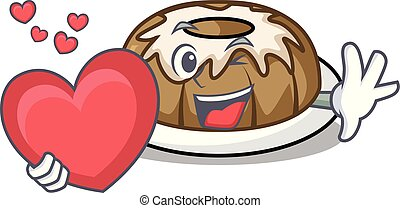 With heart bundt cake mascot cartoon