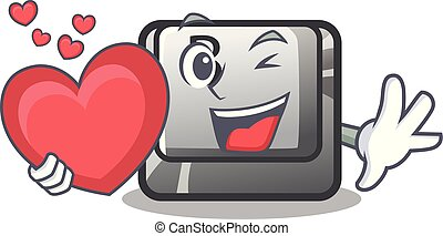 With heart button B on a mascot keyboard