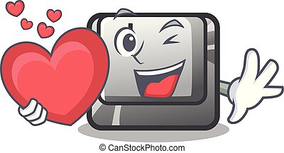 With heart button I in the cartoon game