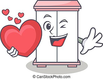 With heart cabinet character cartoon style