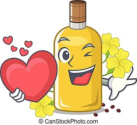 With heart canola oil above the chair character vector ...