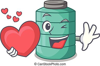With heart cartoon water tank on the tower vector...