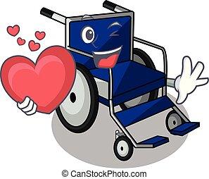 With heart cartoon wheelchair in a hospital room