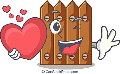 With heart cartoon wooden fence over the grass