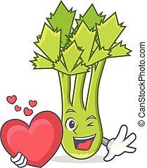 With heart celery mascot cartoon style